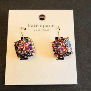 kate spade- square confetti drop earrings, multi